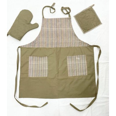 Apron-Khaki with stripes handwoven cotton fabric set of apron, oven mitten and pot holder-Apronset-17