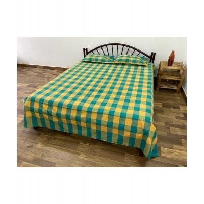 Bedsheet-Handwoven Cotton Checks Double Bedsheet with Pillow CoverCBS