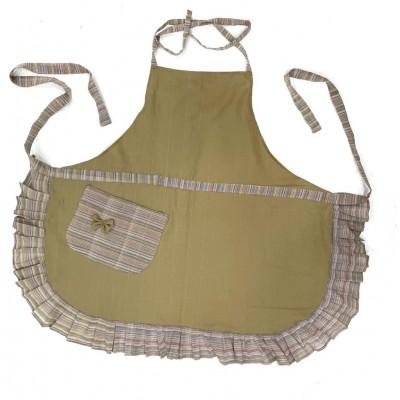 Khaki handwoven cotton apron with frills