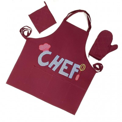 Maroon handwoven cotton fabric set of apron, oven mitten and pot holder
