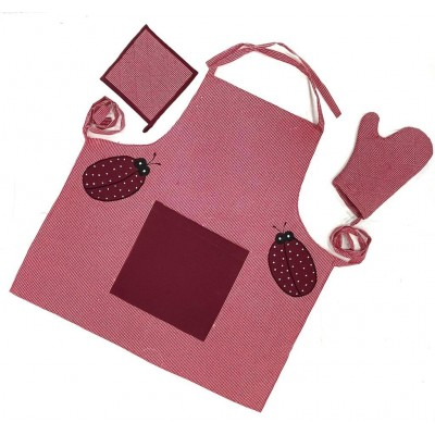 Maroon bug patch handwoven cotton fabric set of apron, oven mitten and pot holder