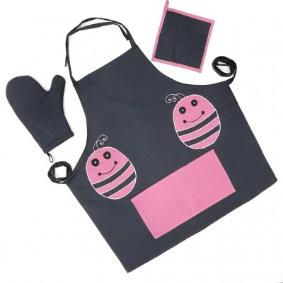 Pink bug patch handwoven cotton fabric set of apron, oven mitten and pot holder