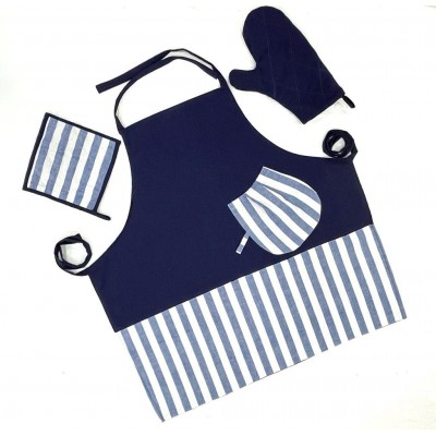 Navy blue with stripes handwoven cotton fabric set of apron, oven mitten and pot holders