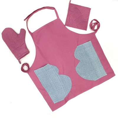 Pink handwoven cotton fabric set of apron, oven mitten and pot holders