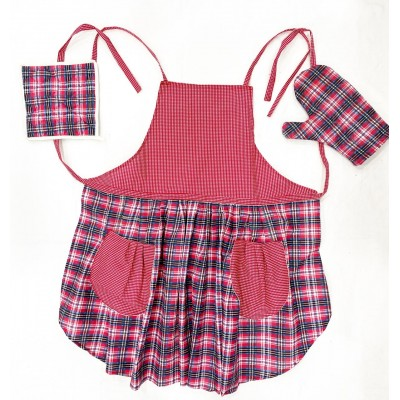 Red and blue checks handwoven fabric set of apron, oven mitten and pot holder