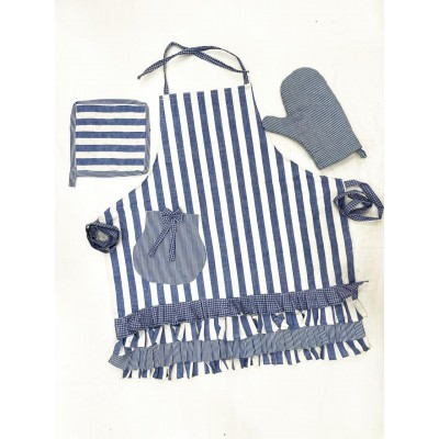 White with blue striped handwoven fabric set of apron, oven mitten and pot holders