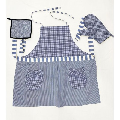 Blue and white checks handwoven fabric set of apron, oven mitten and pot holderss