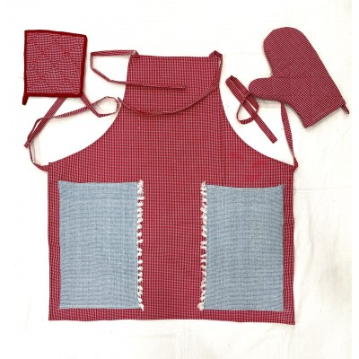 Red and white checks handwoven fabric set of apron, oven mitten and pot holder
