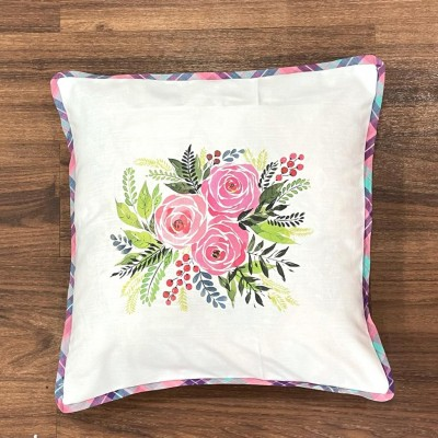 White flower motif handwoven cotton sublimation printed cushion cover