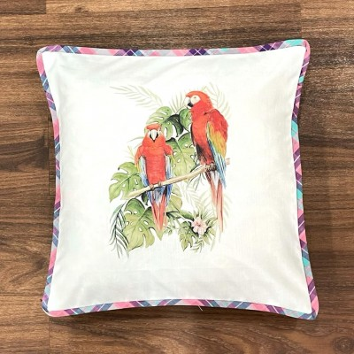 White macaw motif handwoven cotton sublimation printed cushion cover
