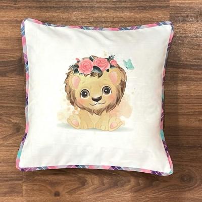 White lion motif handwoven cotton sublimation printed cushion cover