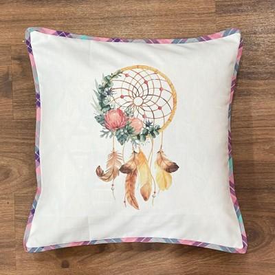 White dream catcher motif handwoven cotton sublimation printed cushion cover