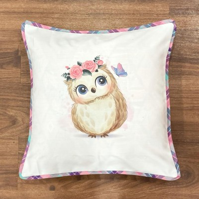 White owl motif handwoven cotton sublimation printed cushion cover