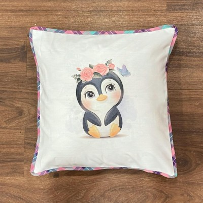 White penguin motif handwoven cotton sublimation printed cushion cover