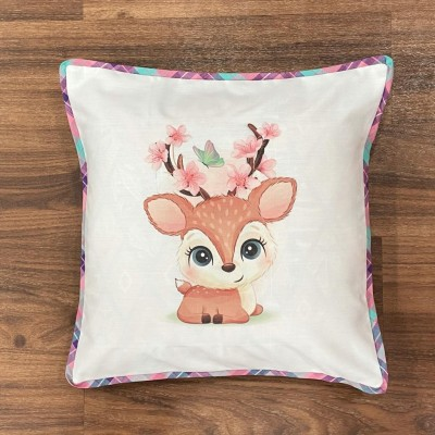 White deer motif handwoven cotton sublimation printed cushion cover