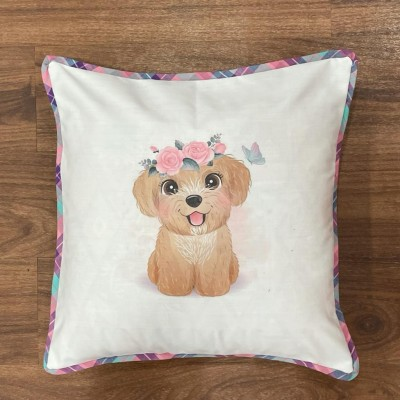 White dog motif handwoven cotton sublimation printed cushion cover