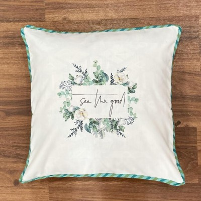 White leaf motif handwoven cotton sublimation printed cushion cover