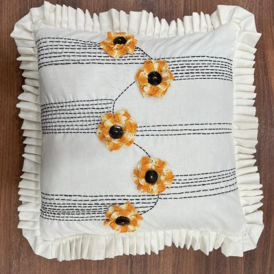 Orange flower and striped crochet handwoven hand embroidered cotton cushion cover