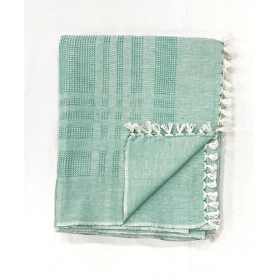Green Waffle Weave Handwoven Cotton Blanket