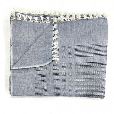 Grey Waffle Weave Handwoven Cotton Blanket