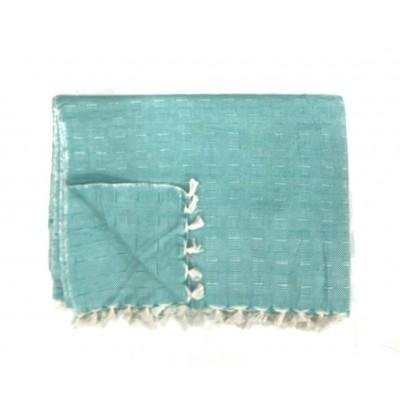 Green Multi Treadle Weave Handwoven Cotton Blanket