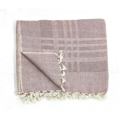 Brown Waffle Weave Handwoven Cotton Blanket