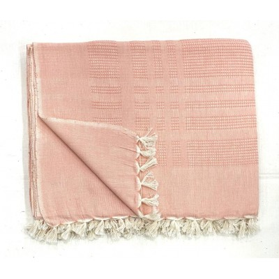 Orange Waffle Weave Handwoven Cotton Blanket