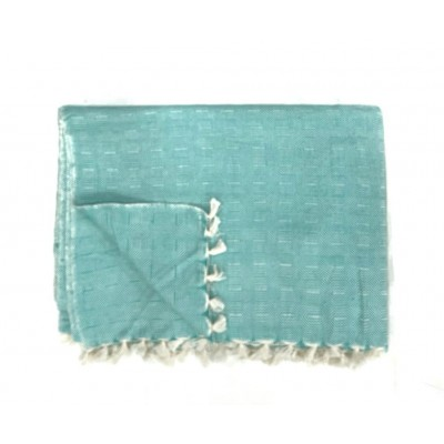 Sky Blue Waffle Weave Handwoven Cotton Blanket
