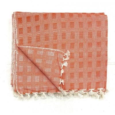 Orange Multi Treadle Weave Handwoven Cotton Blanket
