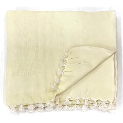 Lemon Yellow Waffle Weave Handwoven Cotton Blanket