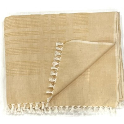 Candlelight Orange Waffle Weave Handwoven Cotton Blanket