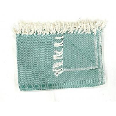 Dark Green Multi Treadle Weave Handwoven Cotton Blanket