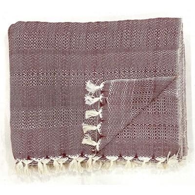 Maroon Multi Treadle Weave Handwoven Cotton Blanket