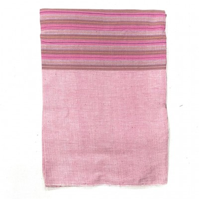 Pink & Brown Striped Handwoven Cotton Tablecloth