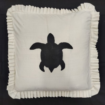 Stencil Printed Off White Cushion Cover