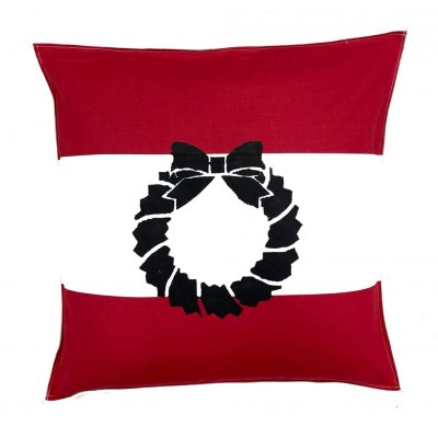 Stencil Printed White and Red Cushion Cover