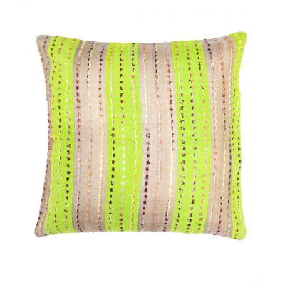 Green & Beige Hand Woven Cushion Cover with Fancy Yarn Details