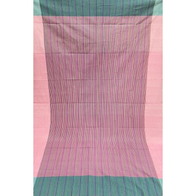 Pink & Mint Striped Handwoven Cotton Tablecloth