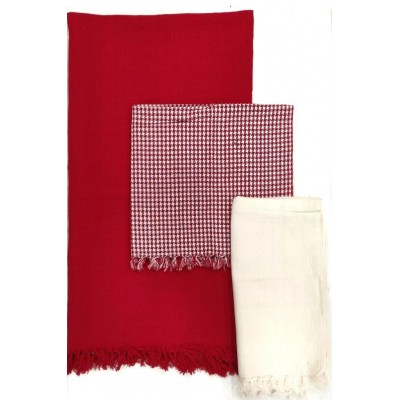 WAFFLE WEAVE COTTON HANDWOVEN TOWEL- SET OF 3