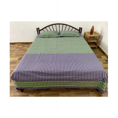 Handwoven Cotton Checks Double Bedsheet with Pillow Cover