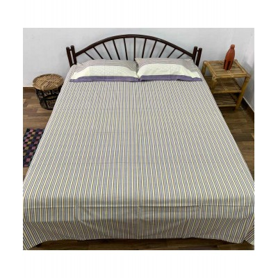 Handwoven Cotton Striped Double Bedsheet with Pillow Cover