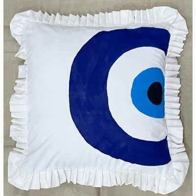 Stencil Printed Evil Eye Cushion Cover